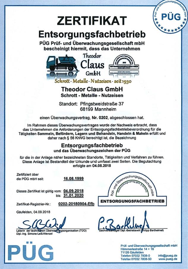 Zertifikat Theodor Claus GmbH Schrott Mannheim Entsorgungsfachbetrieb